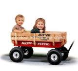 Carrinho de ferramentas de vagão de madeira de quatro rodas para 1-2 anos de bebê