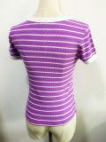 T-shirt curto térmico feito malha roupa da luva da listra da forma das mulheres do verão