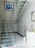 Kits rectos de la escalera de la escalera recta y escaleras de encargo en el pasamano del vidrio Tempered