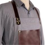 A alta qualidade personalizada encerou o avental do Bib do trabalho da lona com a guarnição de couro unisex