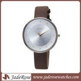 Relógio de quartzo do aço inoxidável do relógio da faixa do engranzamento do relógio de forma
