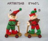 Elfo della bicicletta di guida della decorazione di natale, 2 Asst