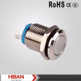 Nuovo tipo interruttore di Hban di pulsante terminale del metallo di Pin del tondo piano dell'iperpiano di RoHS del Ce (12mm)
