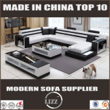 Sofa moderne de cuir véritable de forme des tailles importantes U pour la salle de séjour (LZ-3316)