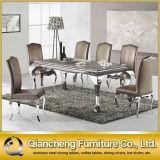 食堂の家具のための大理石の基礎象眼細工のダイニングテーブル