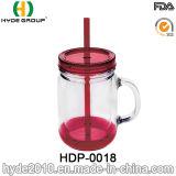 doppel-wandiges Plastikglas des maurer-20oz, freie Plastikwasser-Flasche mit Kappe und Stroh (HDP-0018)