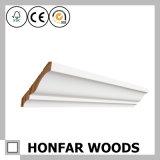 Molde moldando de madeira branco da coroa da madeira de pinho
