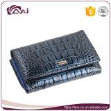 Синий миниый бумажник, малый бумажник с крокодиловой кожей, повелительницей Бумажником неподдельной кожи