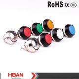 Hban New Type Ce RoHS (12mm) Hyperplane Flat Round Pin Terminal Métal bouton bouton commutateur