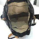 緑によって洗浄されるクラフト紙の物質的なホックのバックパック袋(16A083-3)