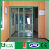 Schiebender Aluminiumtyp Tür mit doppeltem Glas Pnocsd0038