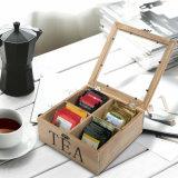 Boîte en bois à thé de compartiment fait sur commande du logo 4 avec le guichet en verre