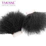 Jungfrau-Haar-Spitze-Schliessen 4X4 des Afro-4X4 gibt lockiges brasilianisches Teil-Menschenhaar-Schliessen-natürliche Farbe frei