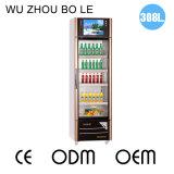 Einzelne Öffnungs-Glastür-Multimedia-Edelstahl-Kühlraum mit LED-Bildschirm