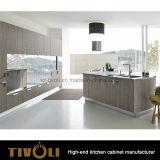 ベニヤおよび白い絵画台所単位Tivo-0237hが付いている木製の食器棚