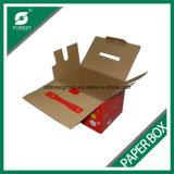 Лоснистая коробка гофрированной бумага слоения для плодоовощей упаковывая с пластичной ручкой