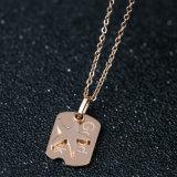 Tegenhanger van de Halsband van de Brief van de Manier van het Ontwerp van de douane de Juwelen Gepersonaliseerde Vierkante