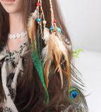 El pelo retro de la pluma del pavo real congriega la venda tejida a mano de las lanas