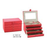 De rode Vorm van de Rechthoek van het Leer met de Doos van de Juwelen van het Leer van de Doos van de Opslag van de Juwelen van 3 Laden