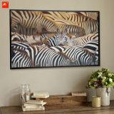 Kudde van Land Zebras van het Af:drukken van het Canvas van de Overvloed