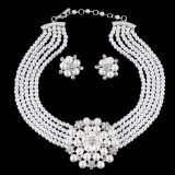 Fashion Of diamond Of pearl Of flower Of choker Of necklace Of earring 2 PCS Of set Of jewelry