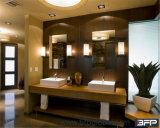 Gabinete de banheiro laminado personalizado com parte superior de pedra