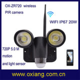 Impermeable 5.0 MP movimiento de la noche de visión WiFi PIR sensor de seguridad de la cámara Zr720 cámara inalámbrica de circuito cerrado de televisión con 2 PCS de luces LED