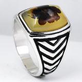 새로운 디자인 자연적인 돌을%s 가진 925의 순은 남자 반지