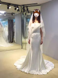 Nixe-trägerloses Sleeveless rosafarbenes Hochzeits-Kleid mit Satin