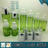 Tarro cosmético coloreado verde del vidrio de la botella de cristal y del cosmético