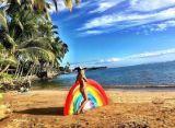 Раздувная езда сплотка бассеина радуги на поплавках, циновках воды