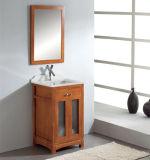 Vanité de salle de bains en bois solide avec le bassin en verre Tempered