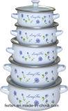 エナメルのふたかガラスのふたと、セットColofullの装飾、3セット、5set、6setまたは7のエナメルのカセロール