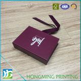 Logotipo feito sob encomenda caixas de jóia impressas com a fita de seda preta