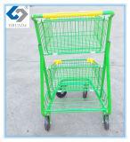 Grüne doppelte Korb-Einkaufen-Laufkatze mit Gut-Verwenden