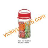 frascos do vidro de vinho da fruta 4L, frascos de vidro grandes do armazenamento com tampão plástico
