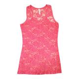 T-shirt sexy en gros de dessus de réservoir de lacet de Rose de couleur de sucrerie
