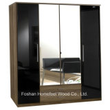 Wooden High Gloss 4 Door Mirrored Combi Wardrobe (WB04)