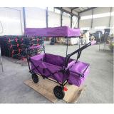 Curso ao ar livre/crianças de acampamento que dobram o carrinho de criança com dossel