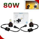 2 piezas de 80W 8000lm Hi / Lo Beam coche LED Faro H4 H13 9005 9006