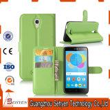 Аргументы за Alcatel Pixi телефона кожи с сохранённым природным лицом Lychee 4 Ot5012