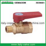A válvula de esfera de bronze da qualidade da garantia com corruga o punho (AV-BV-2033)