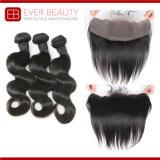 自然なカラーボディ波のバージンの毛のよこ糸の束
