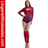 Kostuum van Jumpsuit van de Mislukking van de Spin van de Koker van de volwassene het Lange Rode Meisje Verwijderde