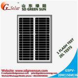 20W mono modulo solare, cella, comitato per illuminazione solare