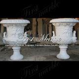 POT di fiore bianco di Carrara per la decorazione domestica MP-157
