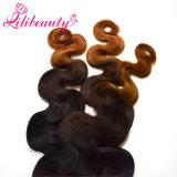 Trama al por mayor de la onda del cuerpo del pelo humano del color del pelo de Remy Ombre