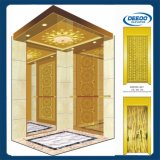 Elevador luxuoso clássico do hotel dourado Gearless da cor