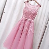 Hot Sale Lace with Beads and Sequins Sweetheart Lace Up Back Acima do tamanho do joelho Mini Pictures Graduation Dresses (LH0072)
