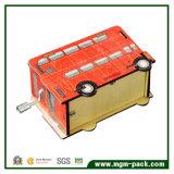 Caixa de música de madeira da manivela decorativa com forma do carro